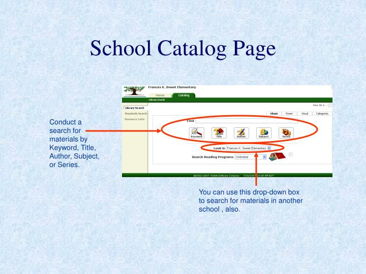School Catalog Page