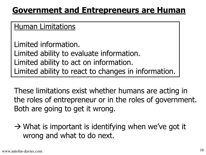 Government and Entrepreneurs are Human