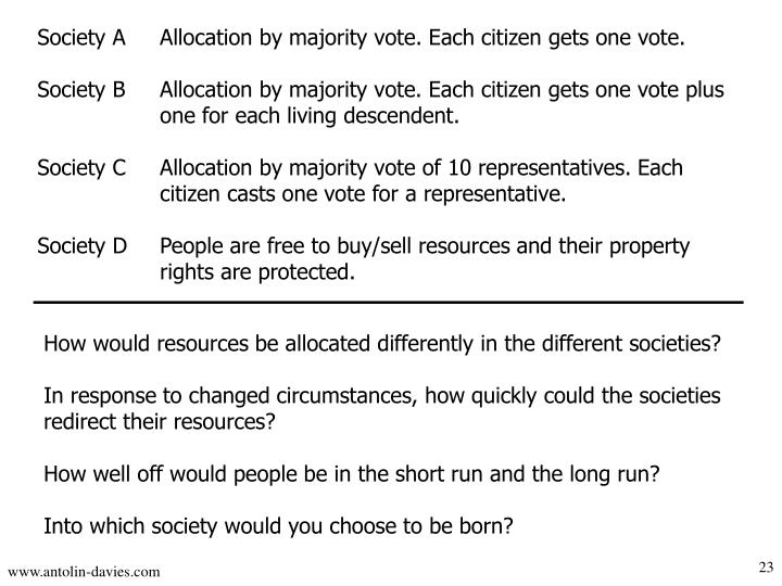 Society A	Allocation by majority vote. Each citizen gets one vote.