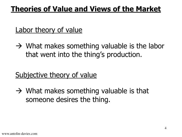 Theories of Value and Views of the Market