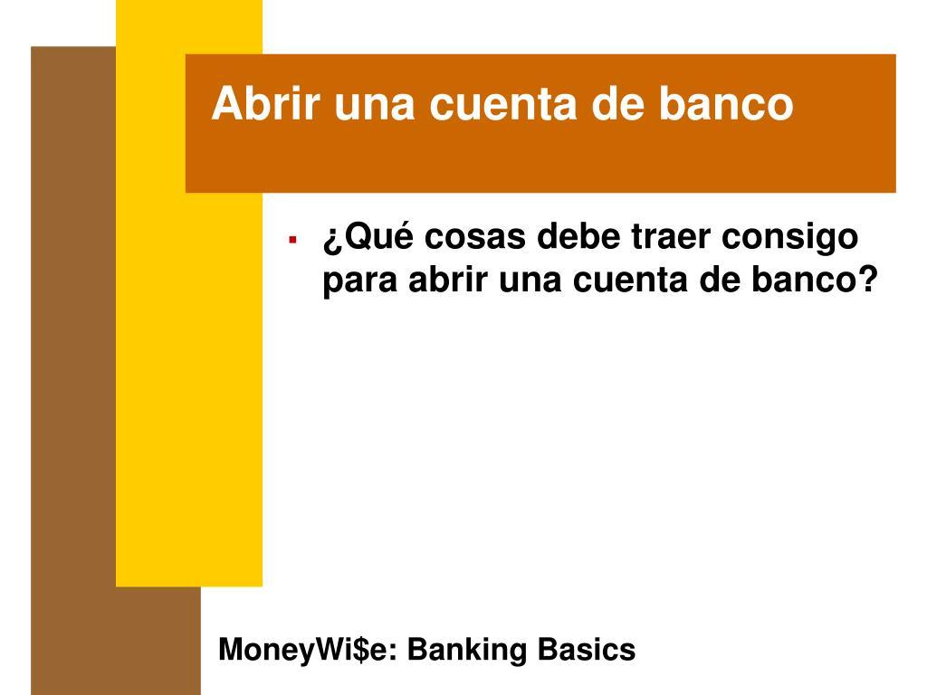 Abrir una cuenta de banco