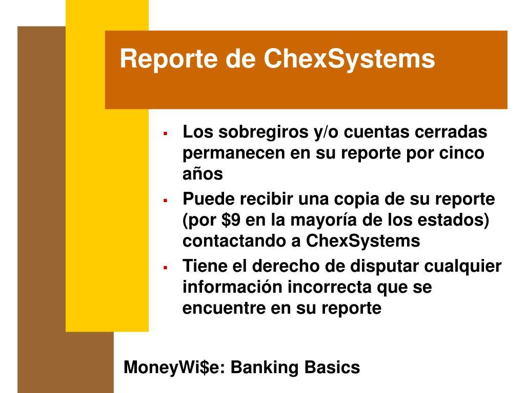 Reporte de ChexSystems