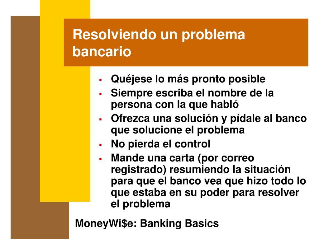 Resolviendo un problema bancario