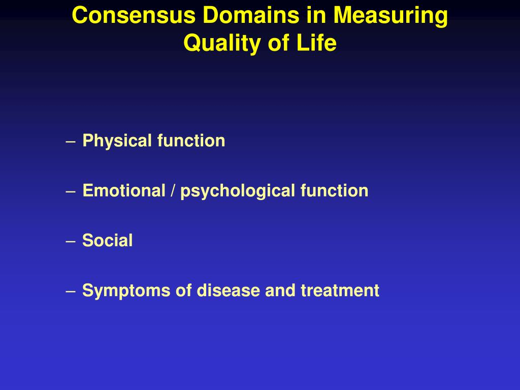 Consensus Domains in Measuring Quality of Life