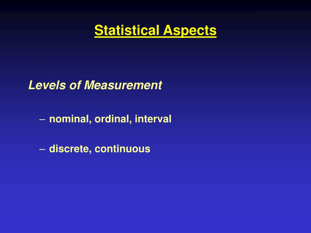 Statistical Aspects