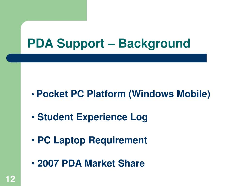 PDA Support – Background