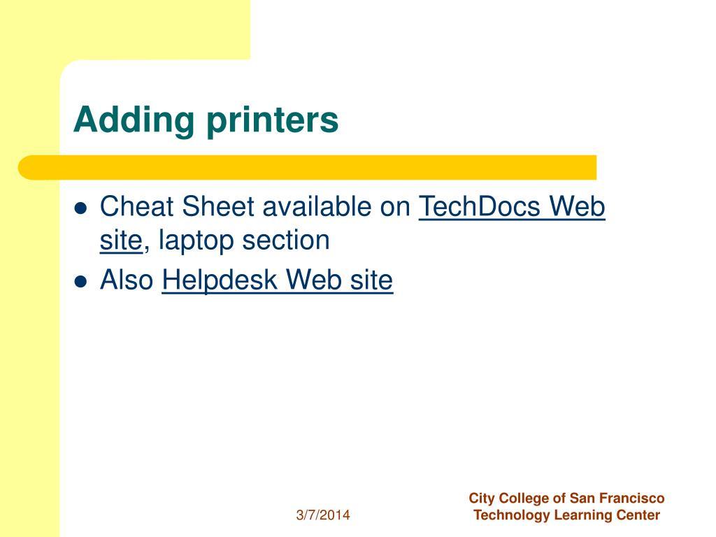 Adding printers