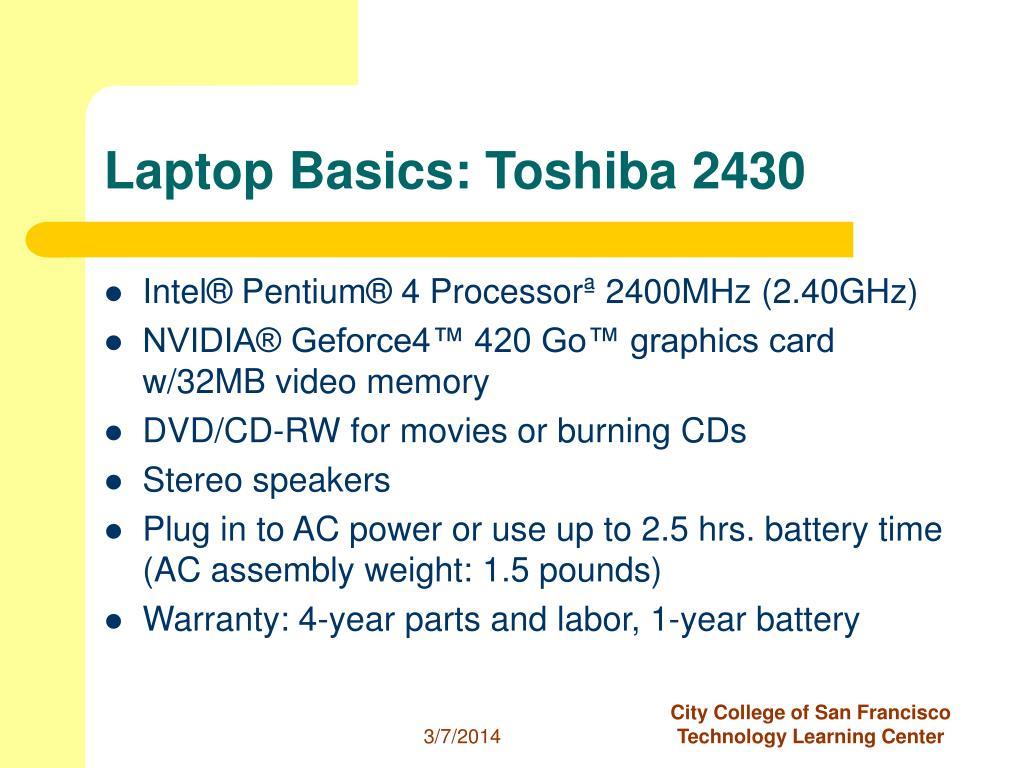 Laptop Basics: Toshiba 2430