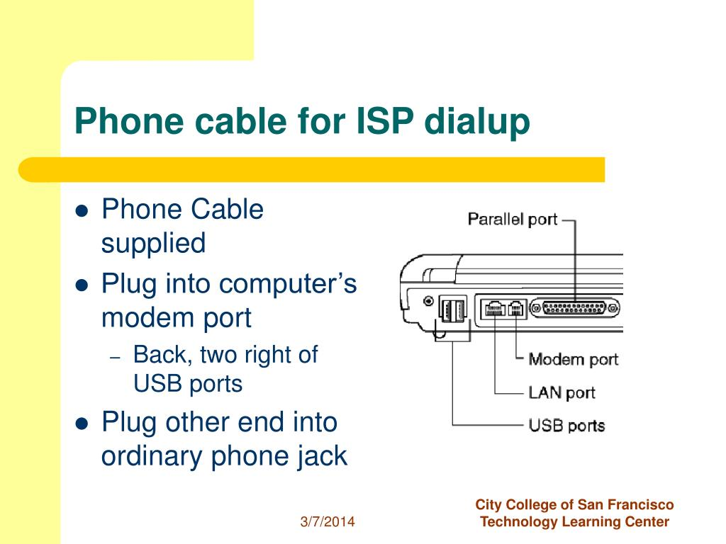 Phone cable for ISP dialup