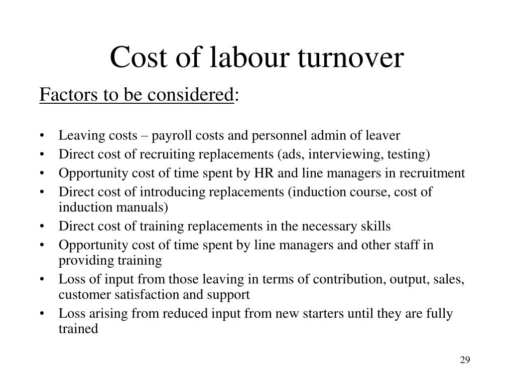 Cost of labour turnover