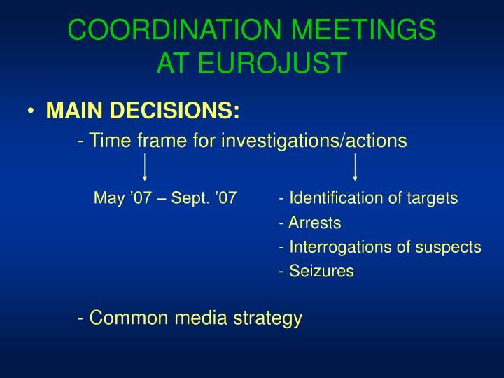 COORDINATION MEETINGS