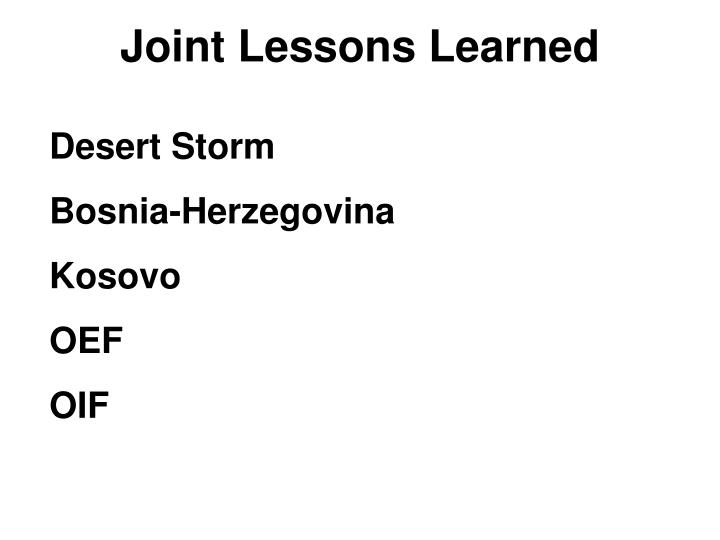 Joint Lessons Learned