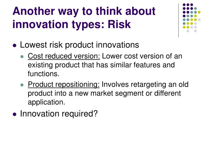 Another way to think about innovation types: Risk