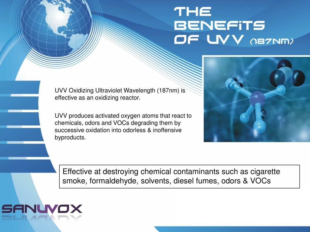 UVV Oxidizing Ultraviolet Wavelength (187nm) is effective as an oxidizing reactor.