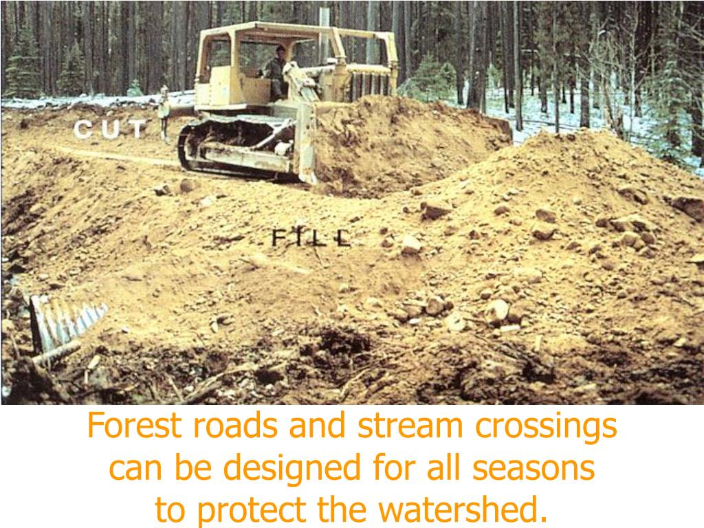Forest roads and stream crossings          can be designed for all seasons                to protect the watershed.