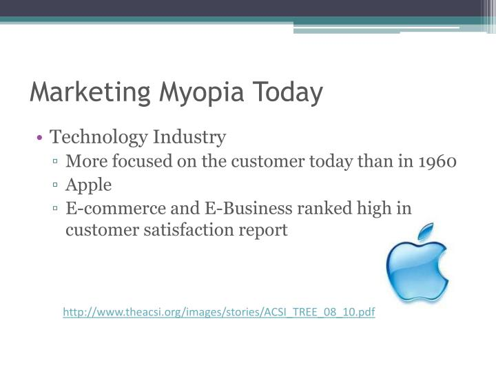 examples of marketing myopia Market myopia is a strategy that focuses on the product of the company rather than the need of the customer a good example of market myopia is seen in ford motor company essay about marketing myopia 779 words | 4 pages.