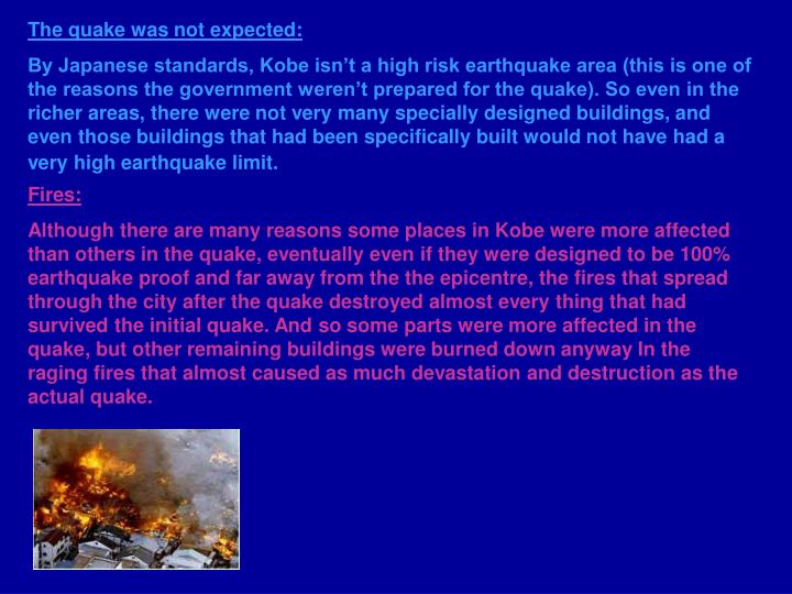 The quake was not expected: