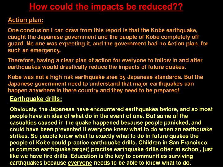 How could the impacts be reduced??