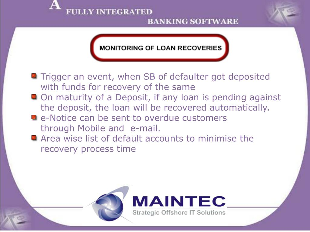 Trigger an event, when SB of defaulter got deposited