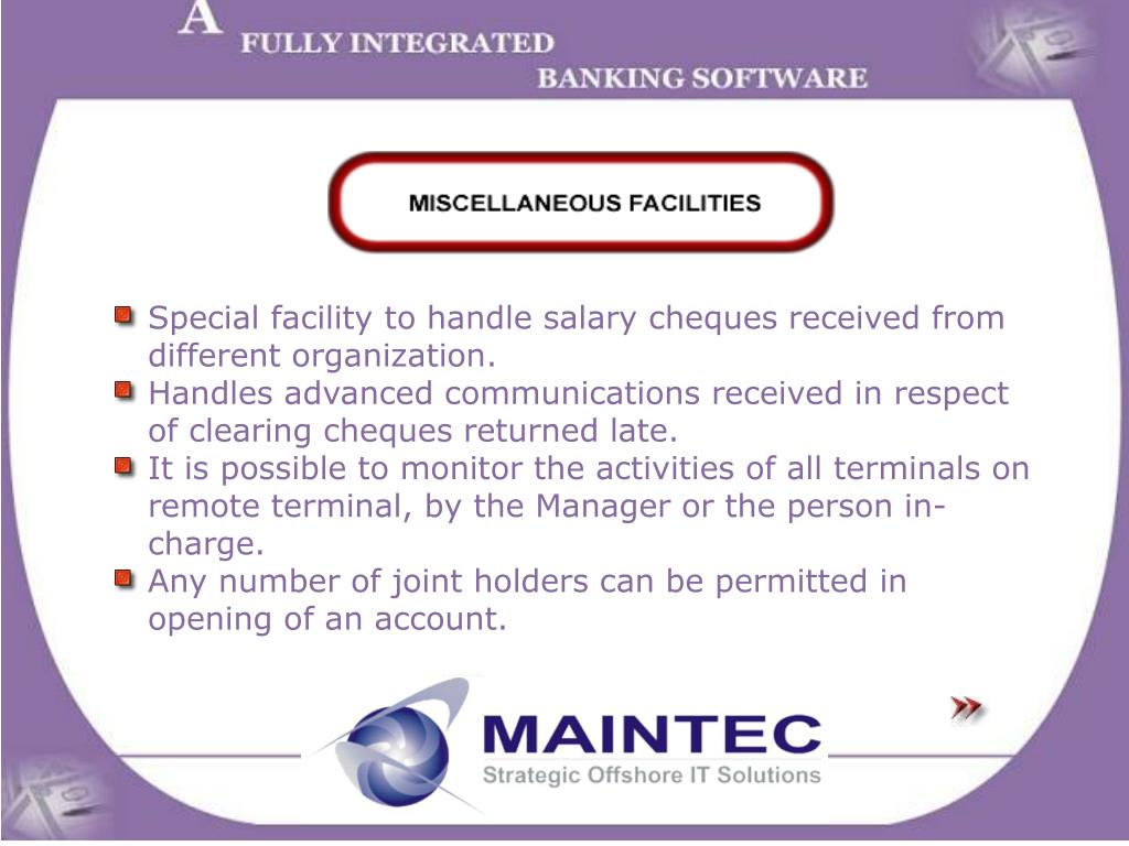 Special facility to handle salary cheques received from