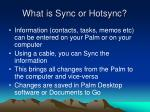 what is sync or hotsync