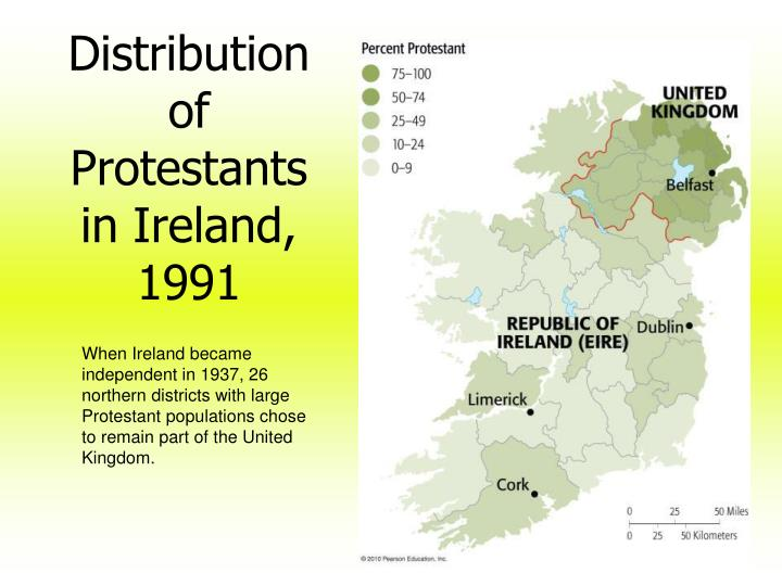 Distribution of Protestants in Ireland, 1991