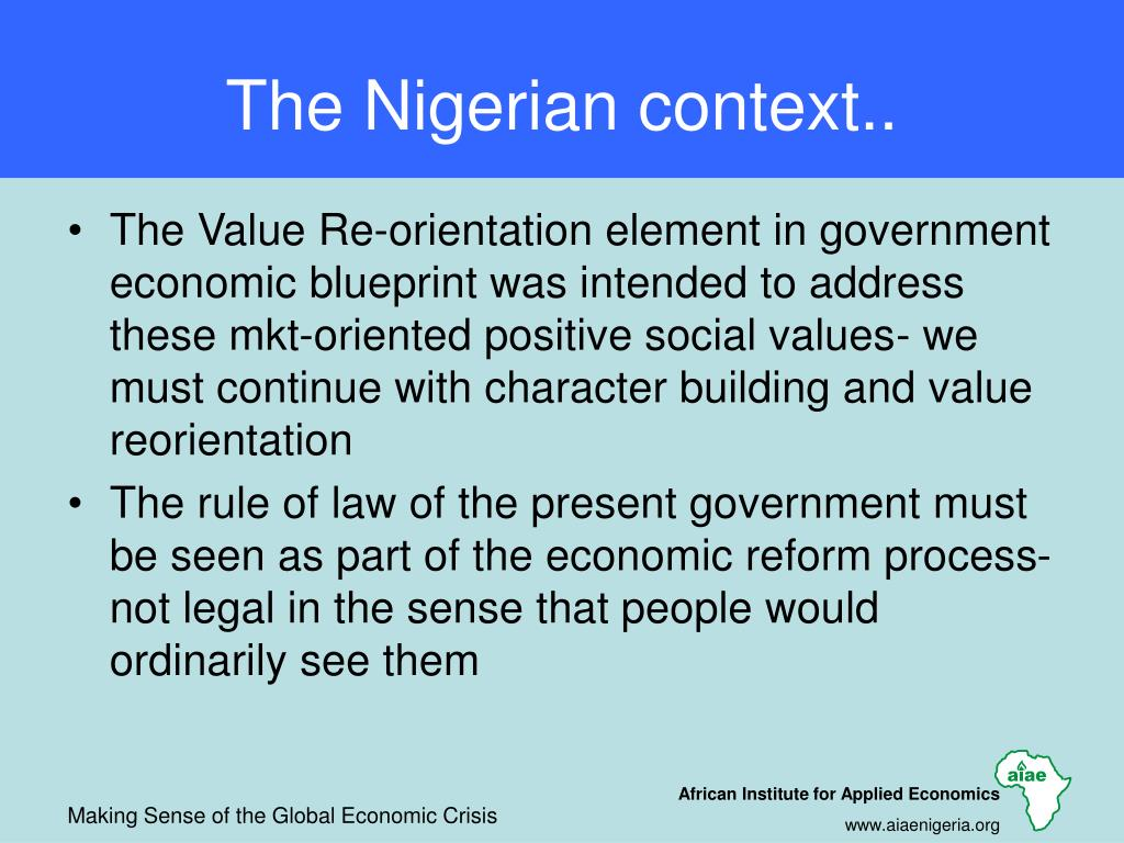 The Nigerian context..