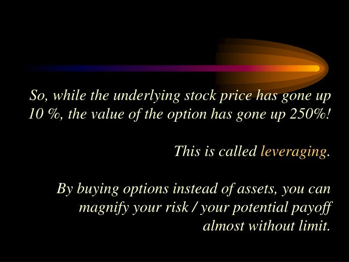 So, while the underlying stock price has gone up 10 %, the value of the option has gone up 250%!