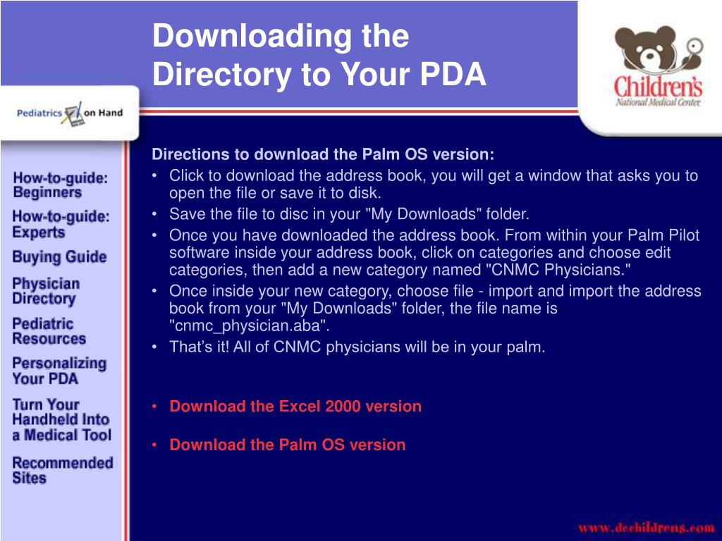 Downloading the Directory to Your PDA
