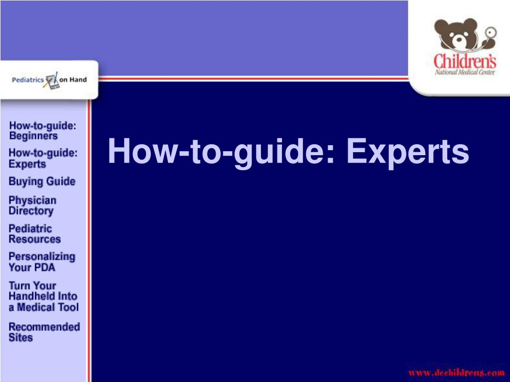 How-to-guide: Experts