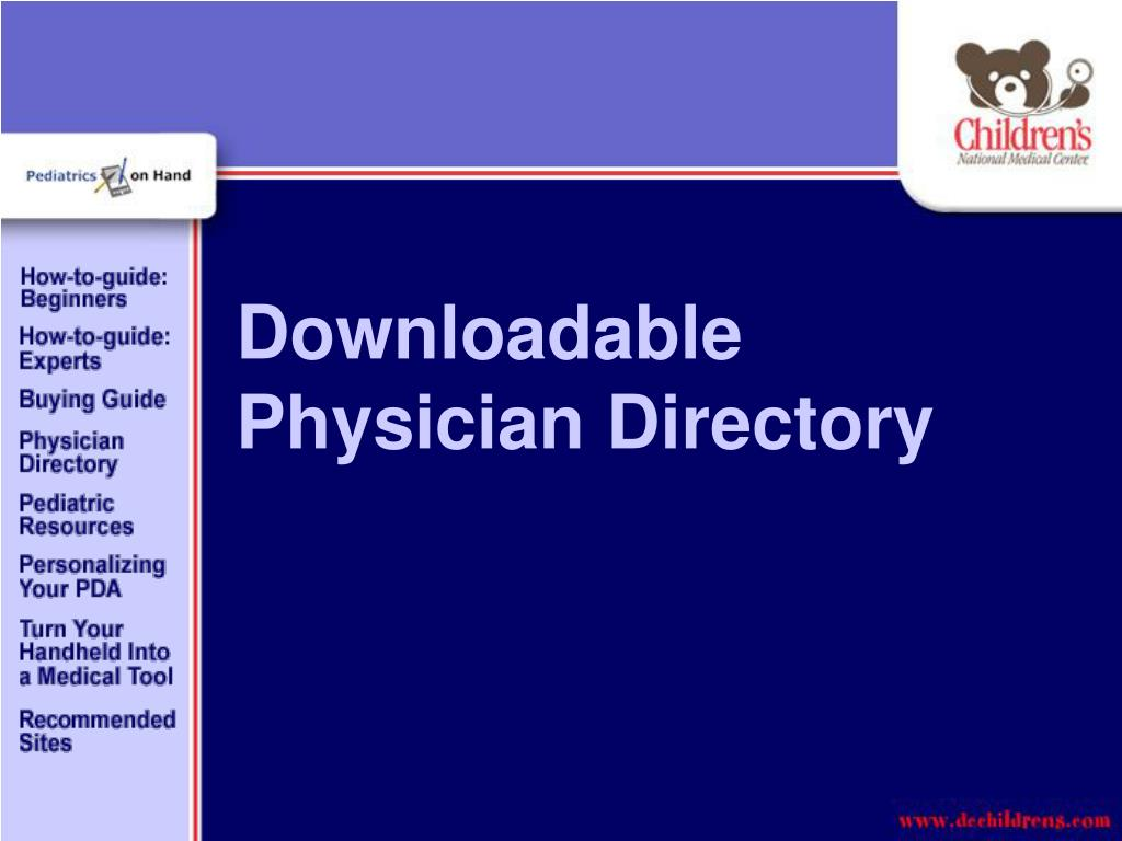 Downloadable Physician Directory