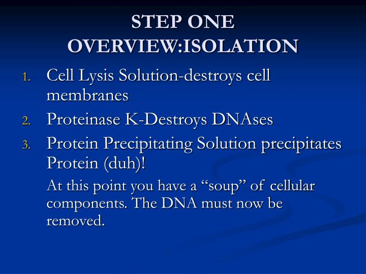 STEP ONE OVERVIEW:ISOLATION