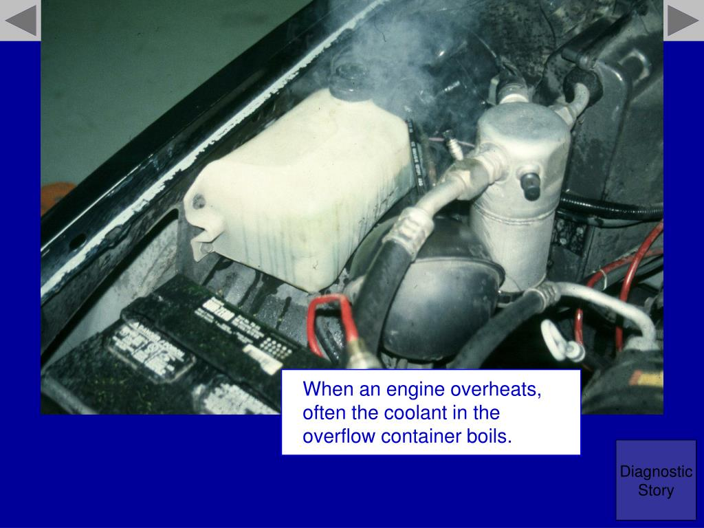 When an engine overheats, often the coolant in the overflow container boils.