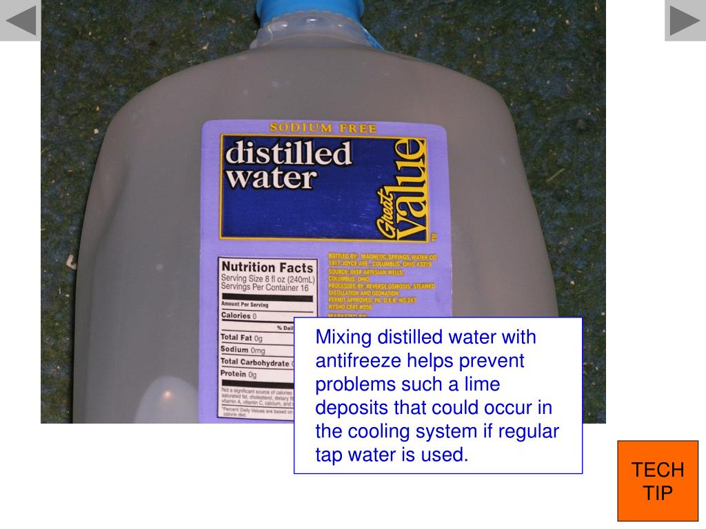 Mixing distilled water with antifreeze helps prevent problems such a lime deposits that could occur in the cooling system if regular tap water is used.