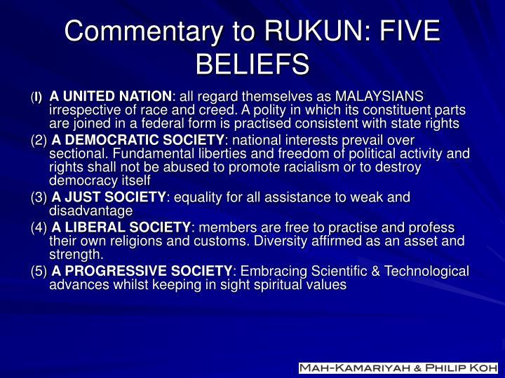 Commentary to RUKUN: FIVE BELIEFS