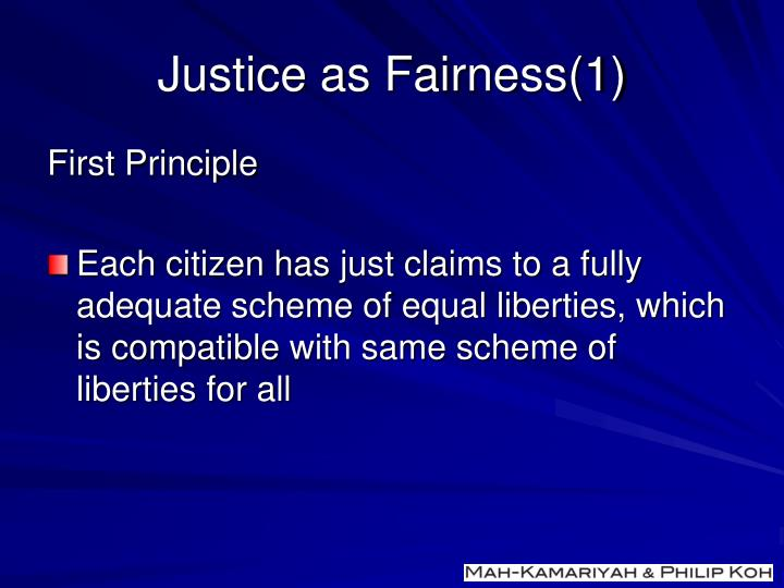 Justice as Fairness(1)