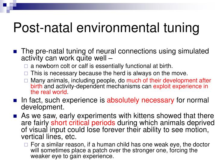 Post-natal environmental tuning
