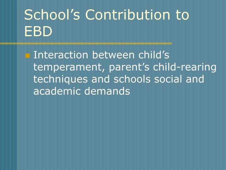 School's Contribution to
