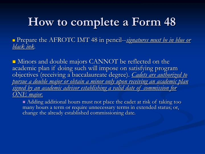 How to complete a Form 48