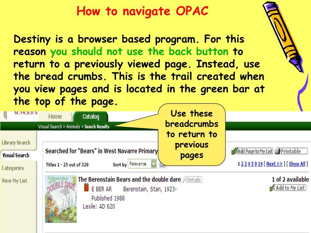 How to navigate OPAC