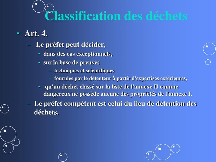 Classification des déchets