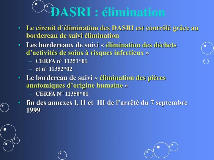 DASRI : élimination