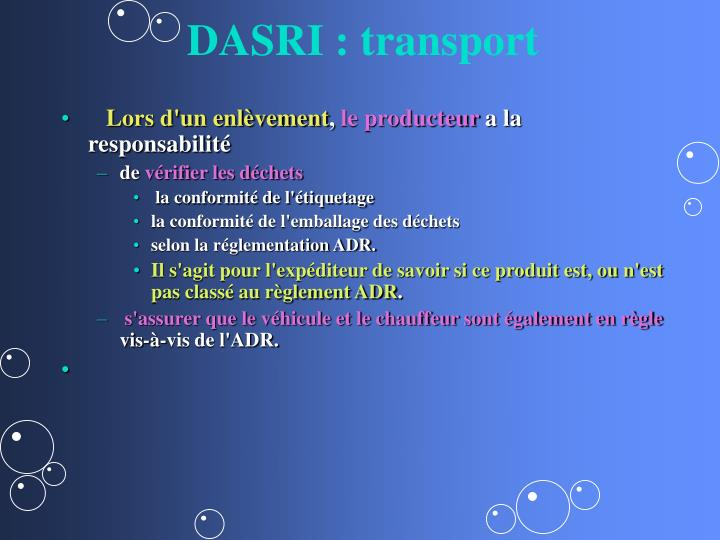 DASRI : transport