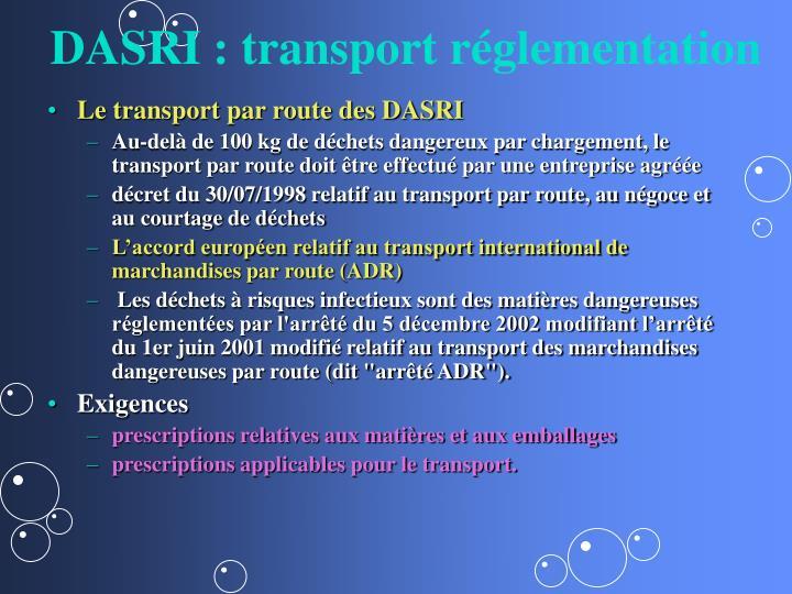 DASRI : transport réglementation