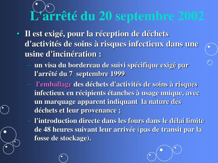 L'arrêté du 20 septembre 2002