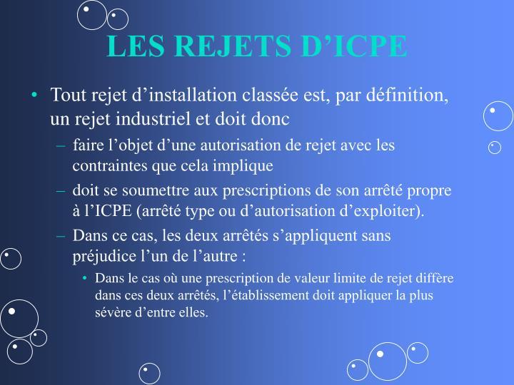 LES REJETS D'ICPE