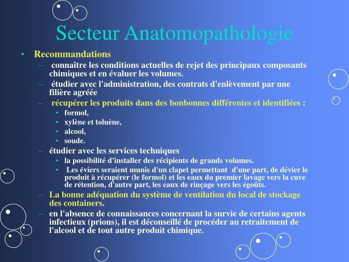 Secteur Anatomopathologie