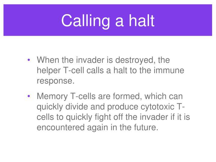Calling a halt