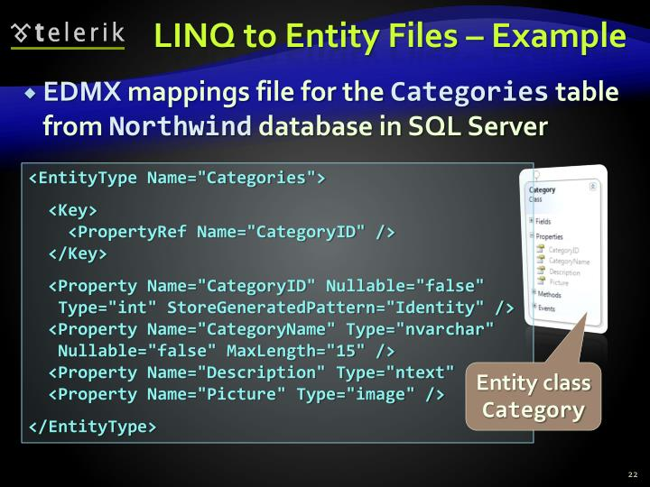 LINQ to Entity Files – Example