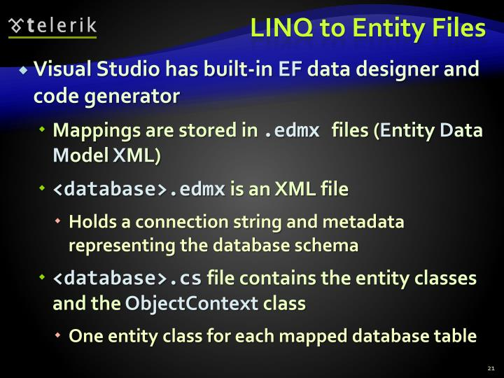 LINQ to Entity Files